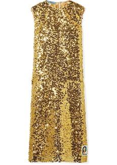 Prada Sequined Organza Midi Dress