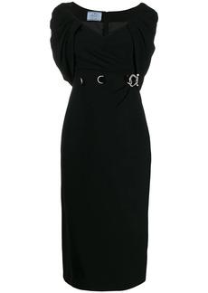 Prada shawl neckline midi dress