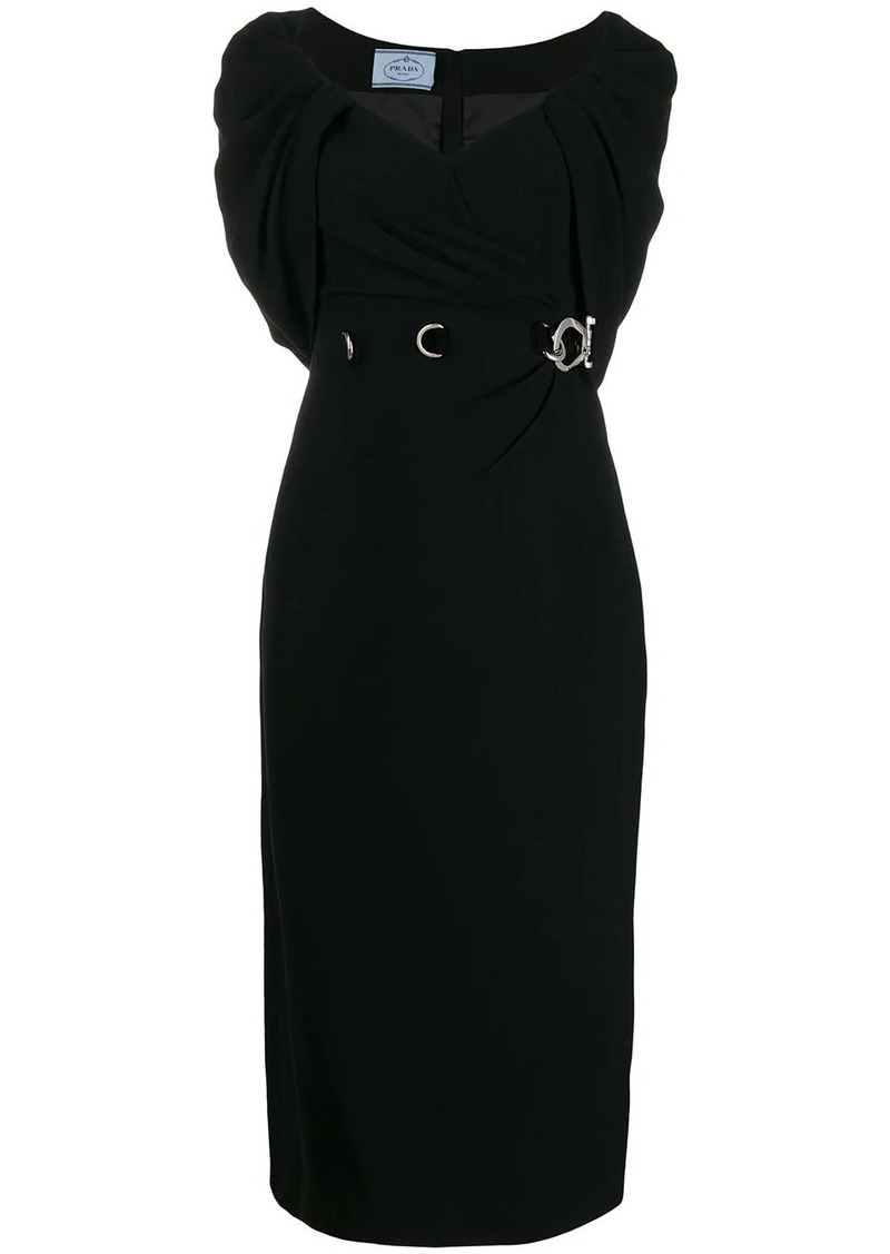 Prada shawl neckline midi dress