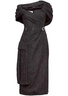 Prada oversized pocket sheath dress