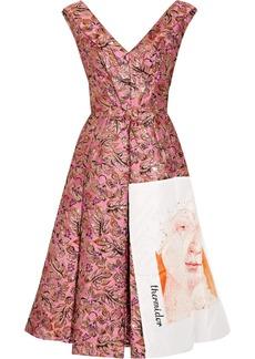 Prada Silk Faille-paneled Metallic Jacquard Midi Dress