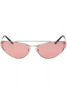 Prada Silver & Pink Metal Oval Sunglasses