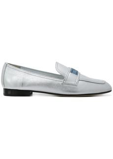 Prada Silver logo leather loafers