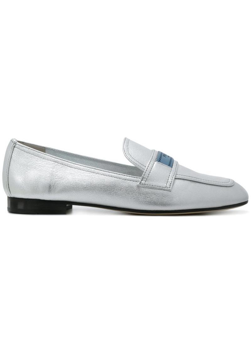 d97b584518e ... new arrivals prada silver logo leather loafers 2a4cb 98b12