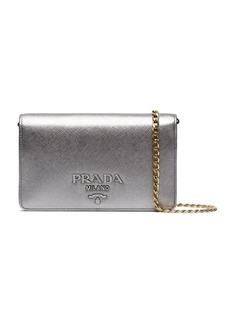 Prada Silver Saffiano leather wallet on chain bag