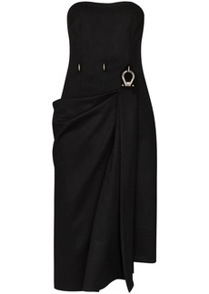 Prada draped buckle detail midi dress
