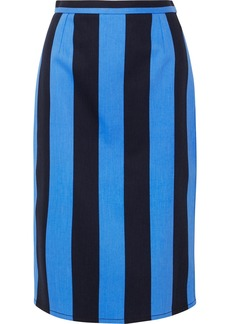 Prada Striped Denim Midi Skirt
