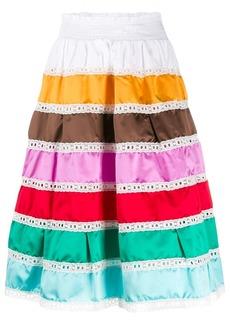 Prada high-waisted striped prairie skirt