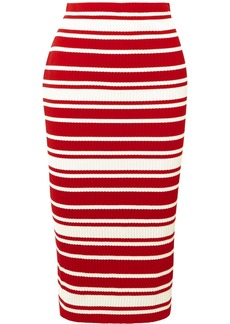 Prada Striped Ribbed-knit Midi Skirt