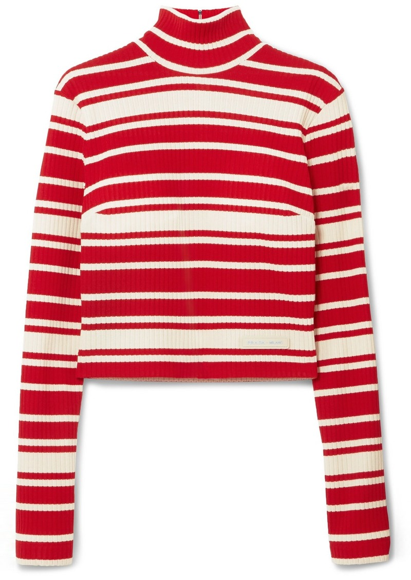 Prada Striped Ribbed-knit Turtleneck Sweater