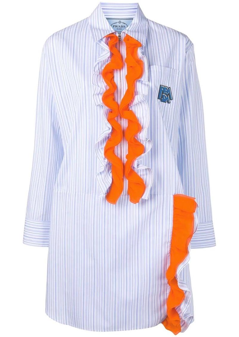 Prada striped ruffle shirt dress