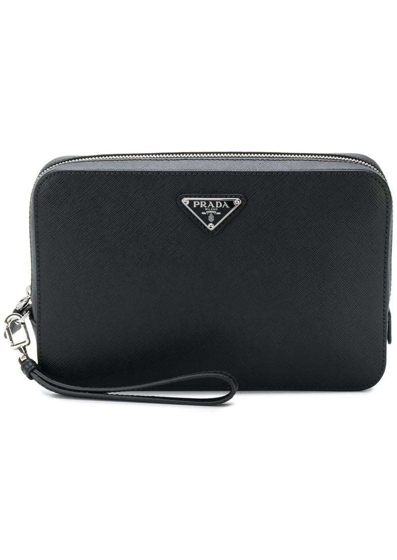 Prada structured logo pouch