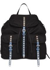 Prada studded buckle backpack