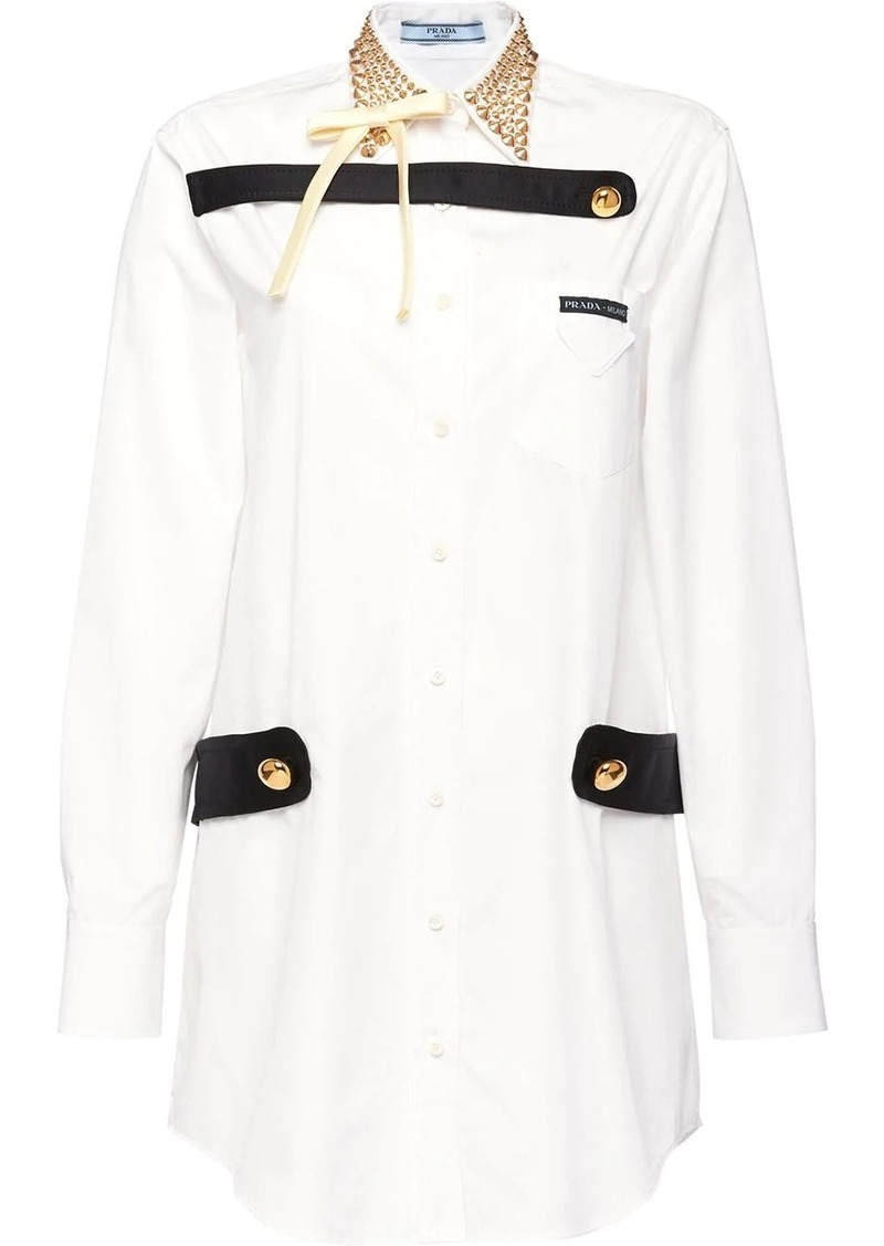 Prada studded collar shirt dress