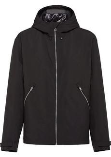 Prada technical fabric zip-up hooded jacket
