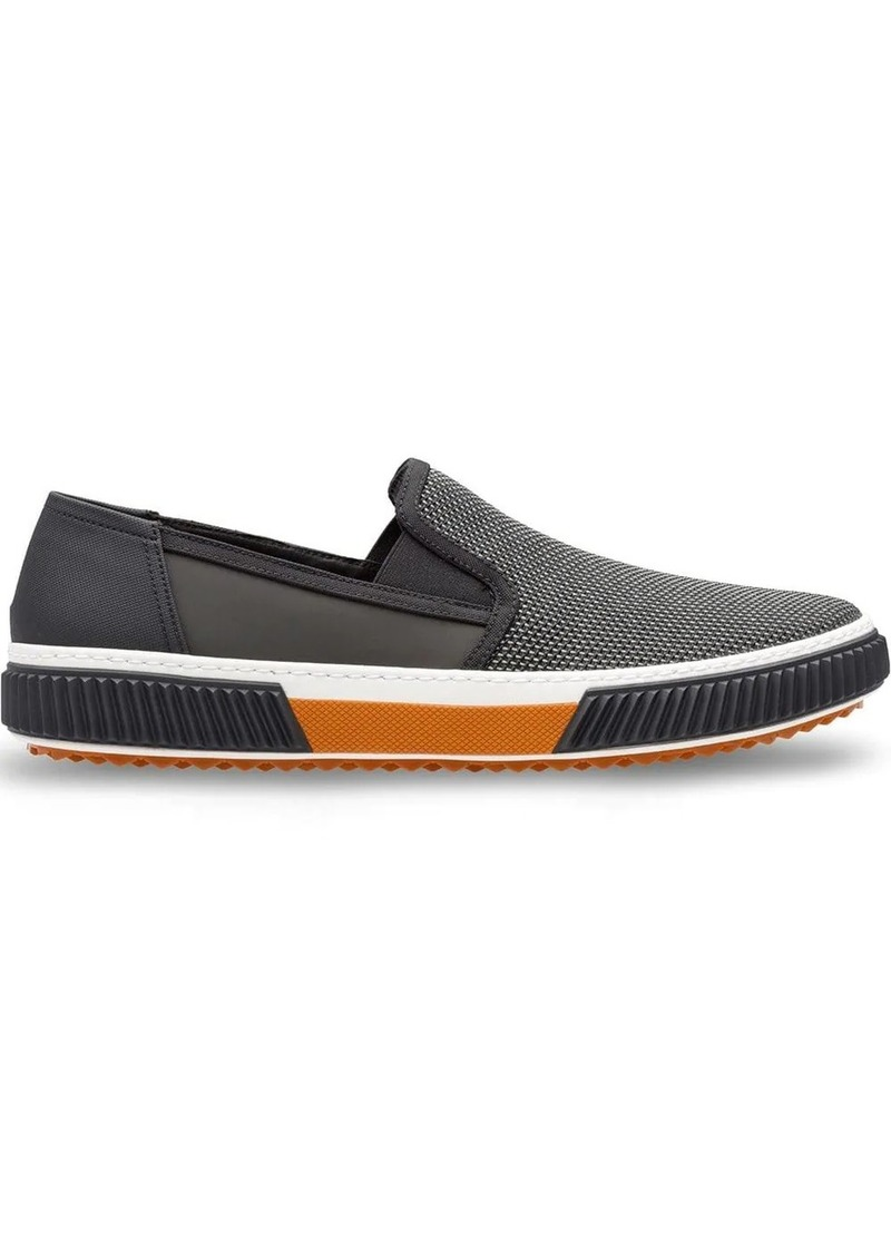 Prada Technical mesh and leather sneakers