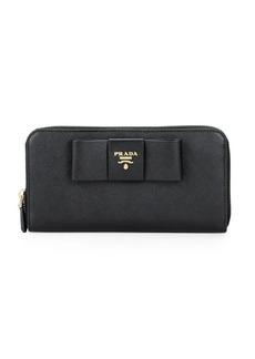 Prada Textured Leather Zip-Around Wallet