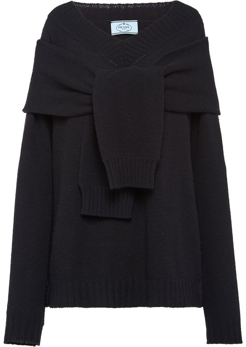 Prada tie-front relaxed jumper