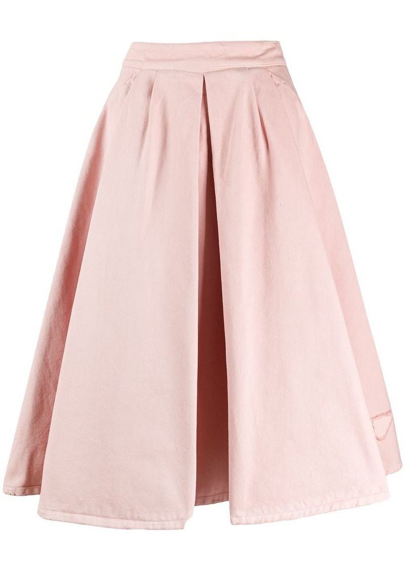 Prada tulip denim skirt