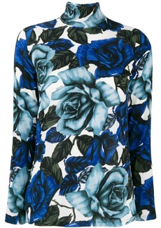 Prada turtleneck rose print top