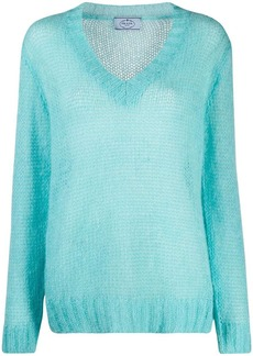 Prada V-neck ribbed knit pullover