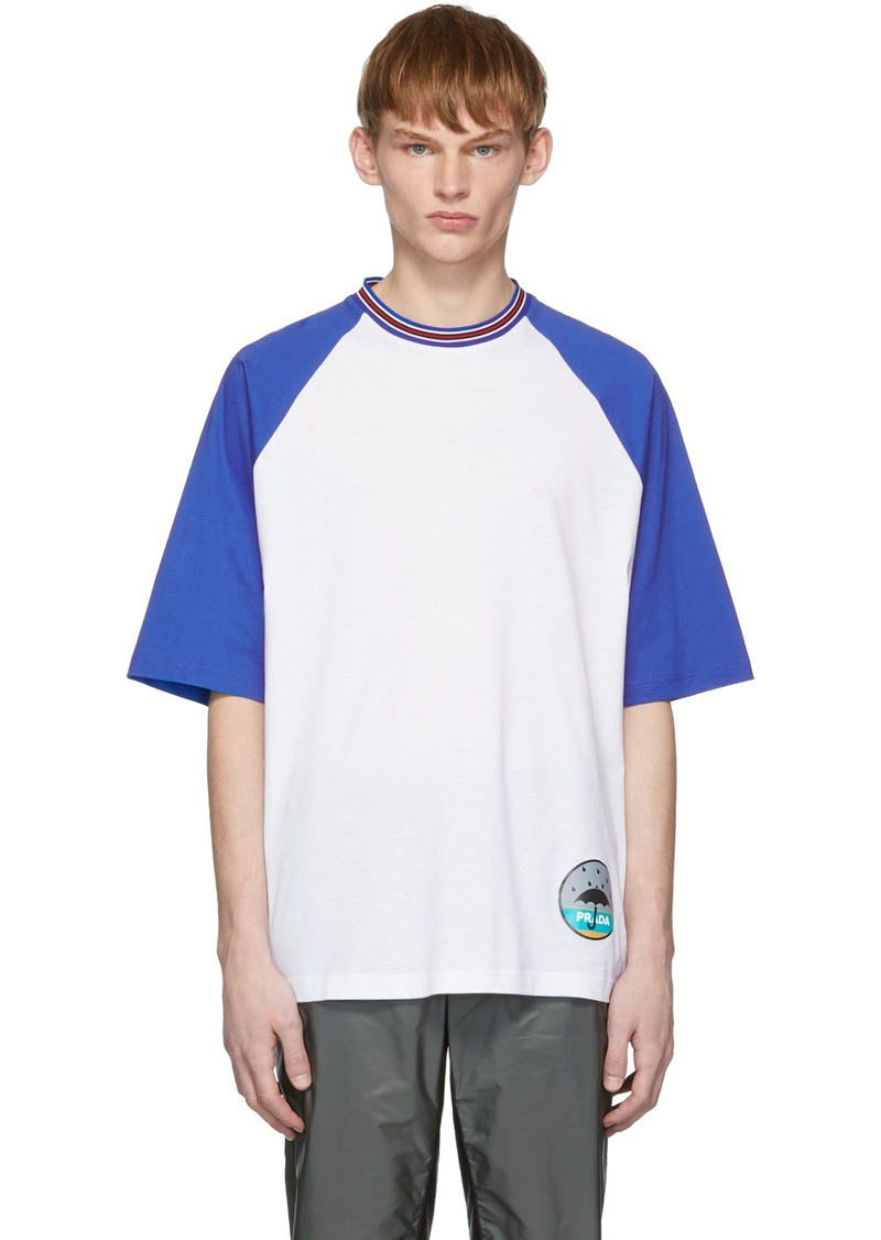 Prada White & Blue Graphic T-Shirt