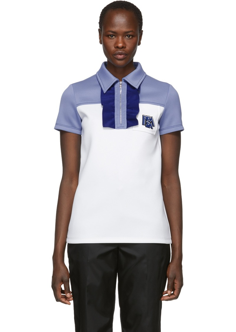 Prada White & Blue Logo Zip Polo