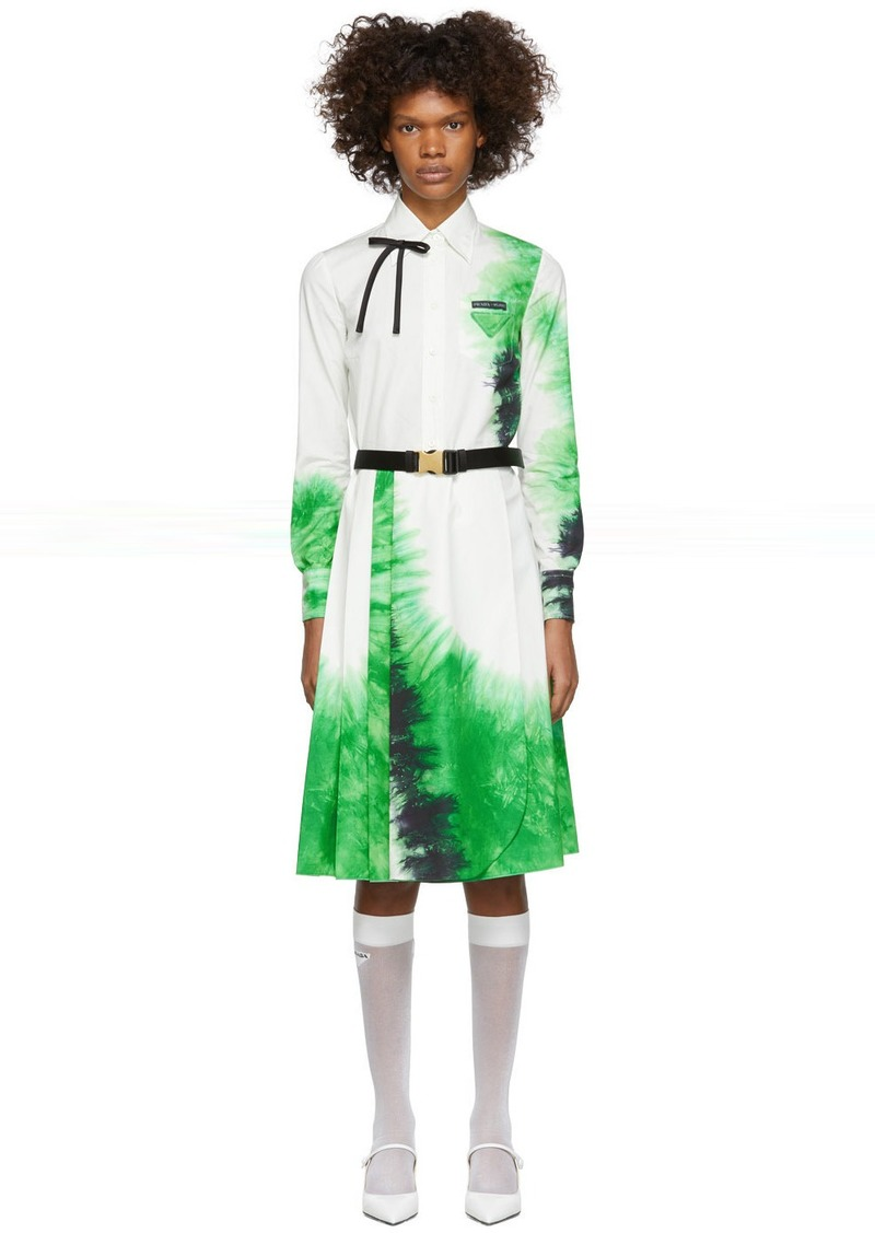 Prada White & Green Belted Tie-Dye Dress