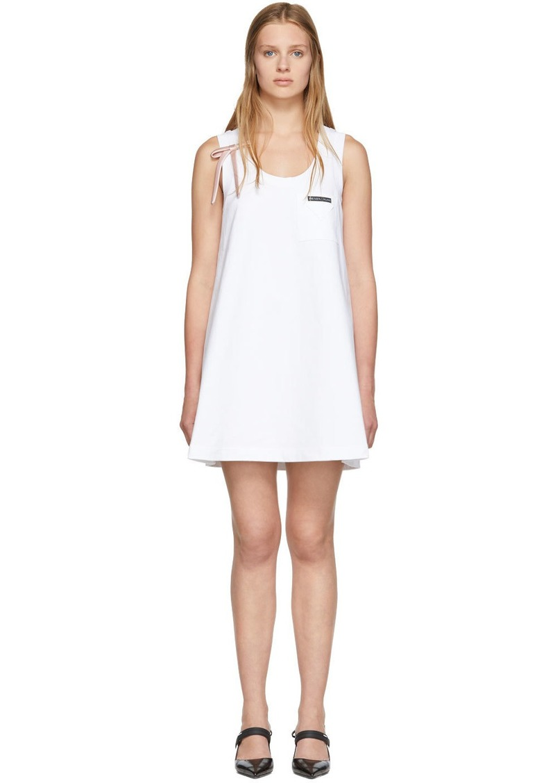 Prada White Bow Detail Sleeveless Dress