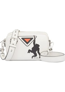Prada white monkey logo print leather shoulder bag