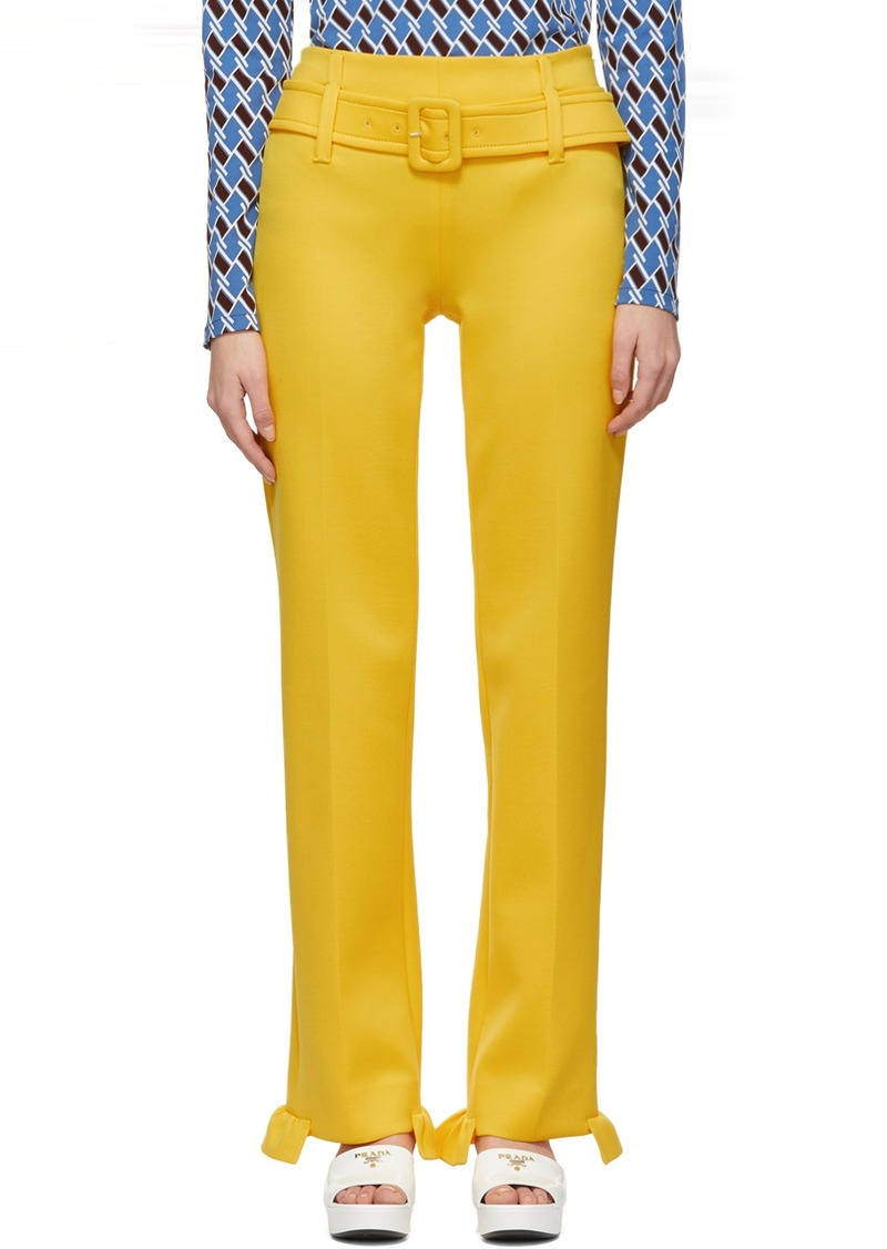 Prada Yellow Ruffled Belted Trousers