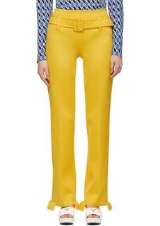 Prada Yellow Ruffled Belted Trousers
