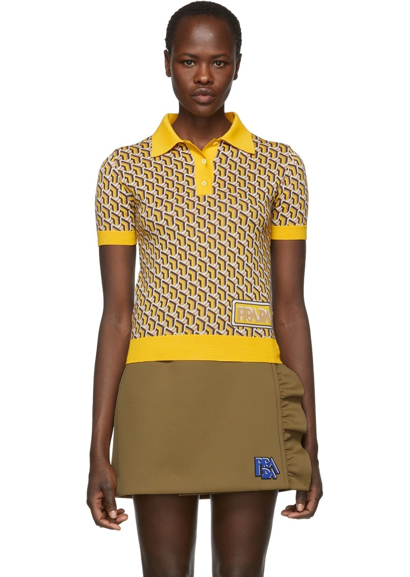 Prada Yellow Silk Printed Polo