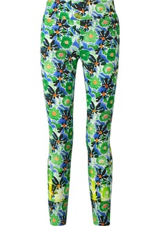 Prada Zip-embellished Floral-print Stretch-jersey Leggings