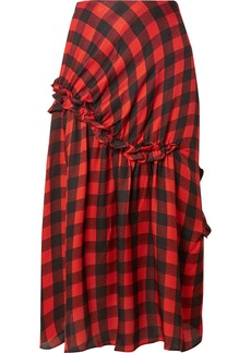 Preen Adrienne Ruffled Checked Silk-jacquard Midi Skirt