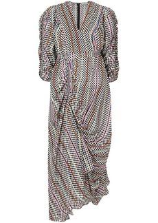 Preen checkerboard gathered detail dress