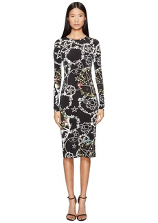 Preen Cherry Long Sleeve Stretch Crepe Dress