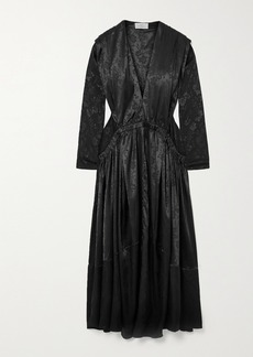 Preen Clario Gathered Floral-jacquard Maxi Dress