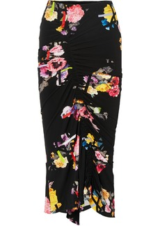 Preen Cosmia Ruched Floral-print Stretch-crepe Midi Skirt