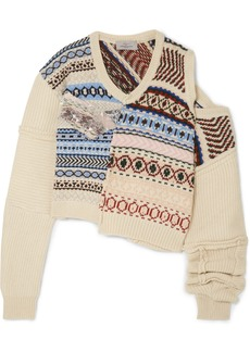 Preen Cutout Distressed Fair Isle Wool Sweater