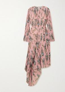 Preen Delaney Asymmetric Floral-print Plissé-georgette Dress