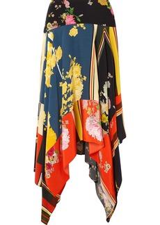 Preen Eva Asymmetric Printed Crepe De Chine Midi Skirt