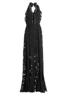 Preen Floor Length Ruffled Dress with Crystal Embellishment