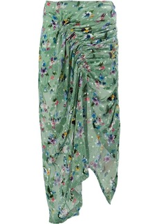 Preen floral print draped skirt
