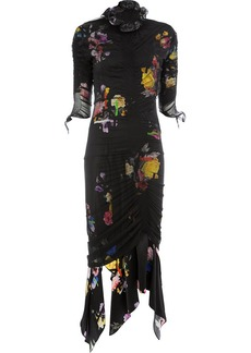 Preen floral print ruche detail dress
