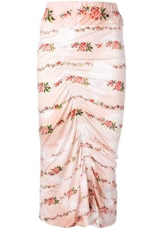 Preen floral print ruched pencil skirt