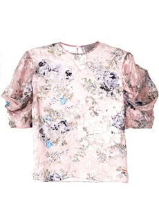 Preen floral print ruffle sleeve blouse
