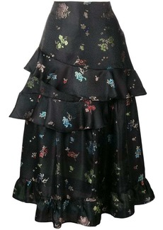 Preen frilled floral printed skirt