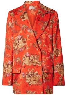 Preen Gillian Oversized Floral-print Satin-jacquard Blazer