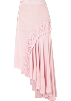 Preen Gracia Asymmetric Shirred Crepe De Chine Midi Skirt